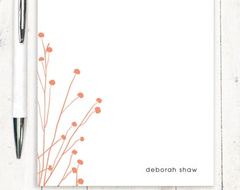 personalized notePAD - DAINTY FLOWERS - flower stationery - stationary - choose color