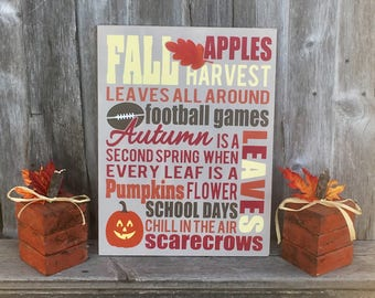 Fall home decor, fall wood sign, fall wall art, fall harvest sign, typography sign, fall decoration