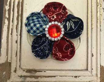 Houston Rodeo Bandanna  Calico  Fabric Flower Two Way Brooch