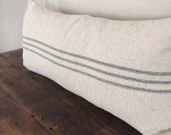 Grain Sack Pillow Blue Stripe Farmhouse Pillow Cover Long Lumbar Pillow Cover Decorative Pillow Cover Cottage Pillow Cover 12x22