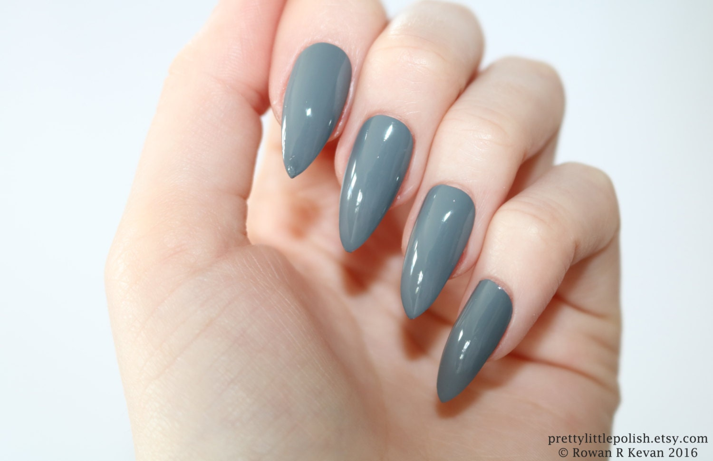 Stiletto nails Grey stiletto nails Fake nails Press on