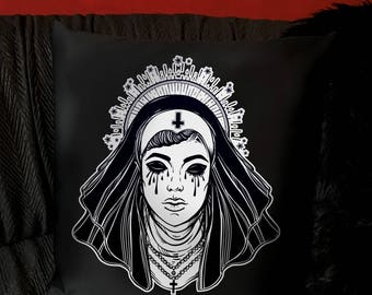 Satanic Nun Throw Pillow Cover