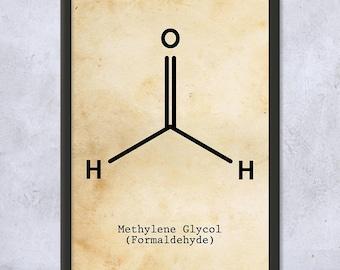 Framed Formaldehyde Molecule Science Art Print Gift, Organic Chemistry, Photography, Film Developing, Embalming, Framed Science Print