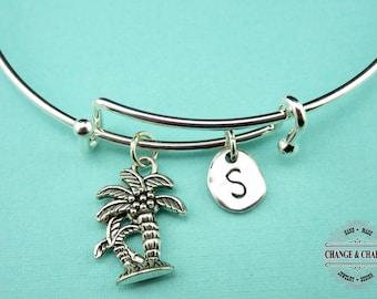 Palm Tree Bangle, Palm Tree Bracelet, Palm Tree Charm,Tropical Jewelry,Silver Plated,Initial Charm,Charm Bracelet,Personalized Bangle,CPL008