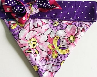 Purple and Pink Floral Over the Collar Summer Bandana for Dogs and Cats