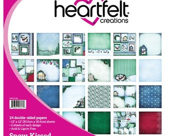 Heartfelt Creations Snow Kissed Collection Paper Pad - Snow Kissed paper - 12x12 - Card stock paper - Blue Green Paper Cardstock - 9-096