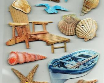 Beach Lake  3d Pop Up Scrapbook Stickers Embellishments Cardmaking Crafts