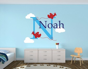 Airplane Wall Decals - Personalized Airplane Wall Decal - Airplane Clouds Wall Decal - Boys Nursery Decor - Boys Name Wall Decal