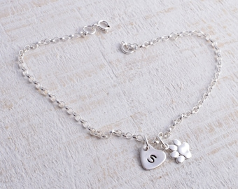 Paw print bracelet silver sterling silver cute paw print with personalised heart chain bracelet 925 animal lover bracelet pawprint