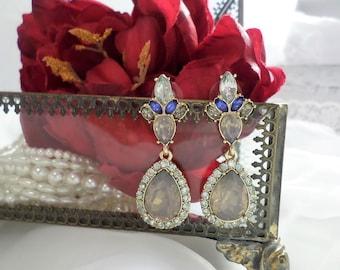 Bridal earrings, Chandelier earrings, Sapphire earrings, Gold earrings, Something Blue, Vintage earrings, Teardrop earrings, Bridal jewelry