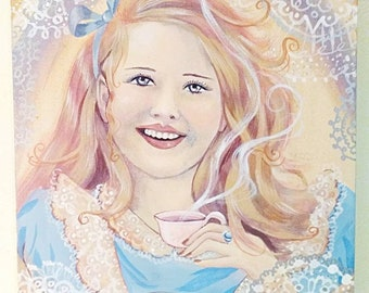 Happy, Alice in wonderland,  tea party,  painting,fine art,through the looking glass,acrylic, Gothic Lolita, surrealism, Dame Darcy,