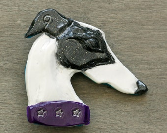 Handmade Houndlings - 'twinkle' black and white brooch/pin - gifts for Sighthound, Whippet, Greyhound, Lurcher, Galgo lovers