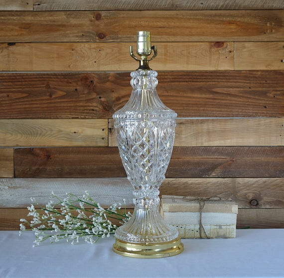 Large clear glass table lamp urn table lamp cut crystal aloadofball Gallery