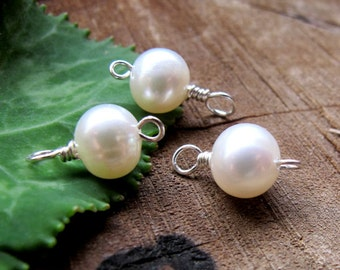 3 Freshwater Pearl Dangles - Sterling Silver Pearl Charms - 7mm Pearl Connector for Necklace, Pendant, Earrings, Bracelets, Pearls, Charms
