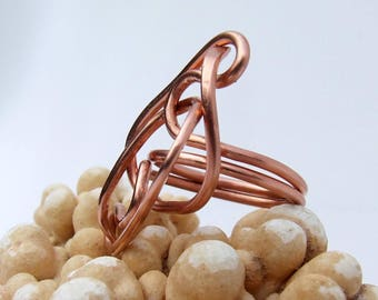 Copper Wire Ring, free form art ring