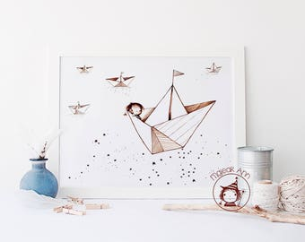 Where is Home? - Paper boats -Nursery Decor wall art -baby decor wall art - sea and stars - cute whimsical baby boy sailing