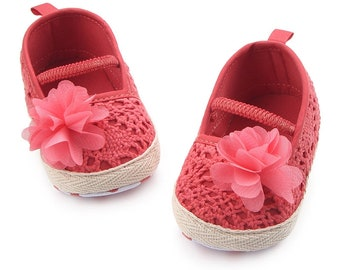 Baby Girl Summer Hollow Knit Soft Soled Baby Walking Shoes