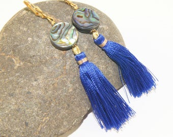 NZ Paua Shell Earrings with Blue Silky Tassels - Lightweight Easy Wearing Jewelry