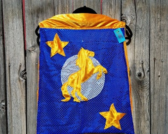 Child Tiny Sized Bronco Horse Cape in Blue with Orange Faux Velvet Lining