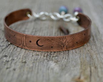 Sterling Copper Bangle. Under The Stars . Hand Stamped . Sterling Silver . Cold Connections . Rustic . Earthy . Boho .