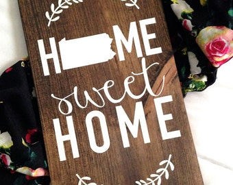 Home Sweet Home Sign, Home Decor, Wooden Home Sign, Wooden Sign, Wooden Home Decor, Home Sign, Housewarming Gift, Wedding Gift, Custom Sign