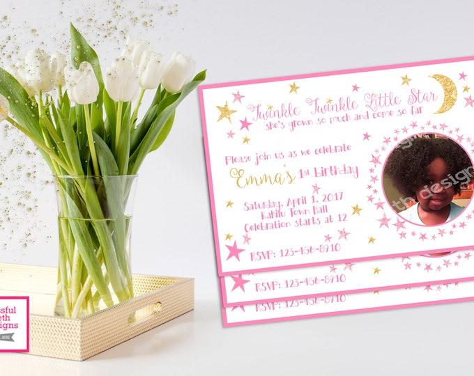 TWINKLE TWINKLE BIRTHDAY, Twinkle Twinkle Little Star Birthday Invitation, Printable First Birthday Invitation, Twinkle Star, Pink/Gold