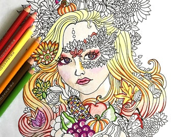 Printable Autumn Girl Coloring Page