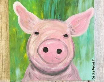 Pippa the Pig- Pig Painting- Pig Art- Pig Wall Art- Pig Decor- Pig- Pig Artwork- Pig Lover Gift- Pink Pig- Gift for Pig Lover- Farm Animal A