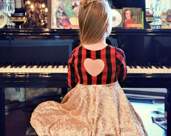 fall dress - valentines dress -  Red and black buffalo plaid sequins dress - infant dress -  party dress - girls dress -  toddler girl