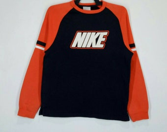 Rare!! NIKE sweatshirt spell out nice design pull over jumper crew neck multicoloured large size