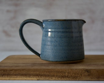 Blue Pitcher, Ceramic Creamer, Pottery Milk Jug, Tabletop Gift, Gift for Mom, Stoneware Pitcher, Small Pitcher, Serving Pitcher