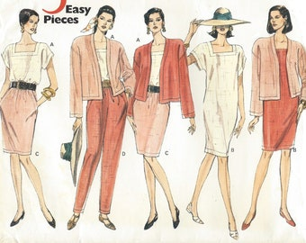 1990s Womens Easy Jacket, Shift Dress, Top, Skirt & Pants 5 Easy Pieces Vogue Sewing Pattern 2638 Size 14 16 18 Bust 36 38 40 FF