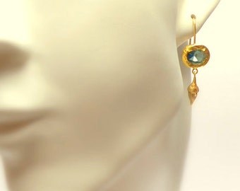 Gold Earrings - 18K Gold Earrings - Blue Topaz Gold Earrings - Seeds Collection - Free Shipping!!