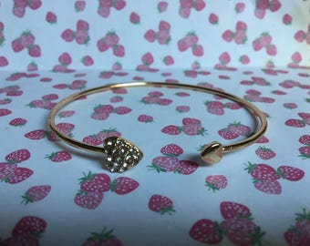 Gold Tone Diamante Love Heart Bangle Bracelet | Jewellery