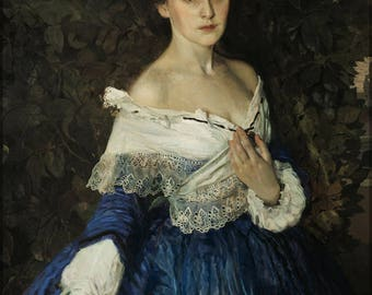 Poster, Many Sizes Available; The Lady In Blue. Portrait Of The Artist E.M.Martynovoy By Konstantin Somov
