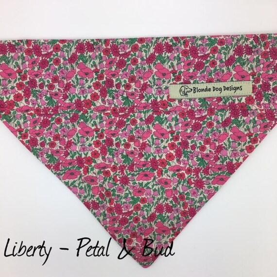 Dog Bandana, Liberty London, Petal & Bud, Pink Dog Bandana, Floral Dog Bandana, Dog Bandana UK
