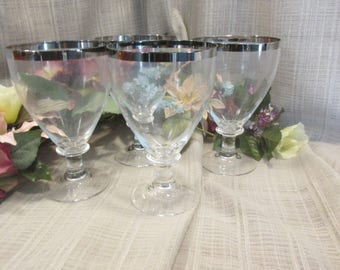 Set of 4 Vintage Dorothy Thorpe style 1950 era Silver Edged Clear Glass Water Goblets Stemware Wine Glasses