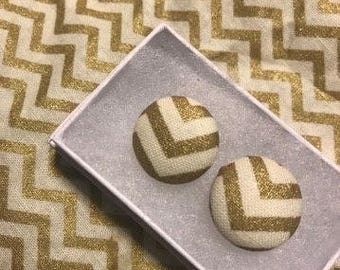 Gold Chevron Button Earrings