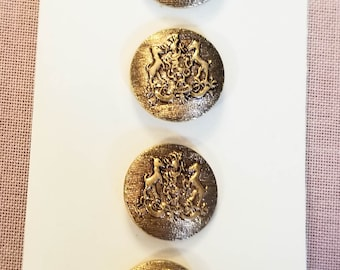 """Vintage Buttons, Coat of Arms, Gold Hound Crest, JHB Imports 5/8"""", Original Card, Hound Crest Buttons, JHB Buttons, Coat of Arms Buttons"""