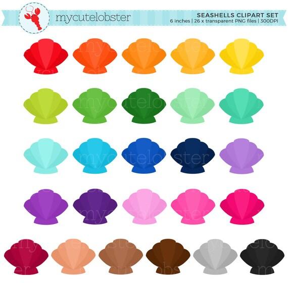 rainbow seashells clipart set clip art set of shells sea shells rh etsystudio com seashell clip art free images seashells clipart png