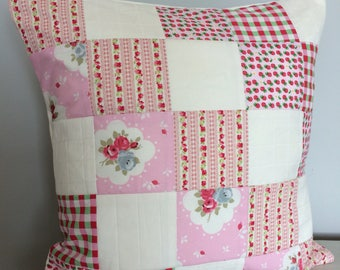 Patchwork Cushion Floral Strawberry Design, Includes Microfibre Inner, Girls Bedroom, Shabby Chic