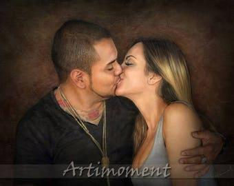 Custom Portrait - Custom Couple Portrait, Personalized Digital Portrait, Bride & Groom, Engagement, Anniversary, Valentine's Day Painting