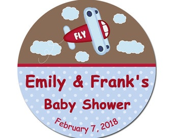 Personalized Baby Shower Labels / Airplane Stickers / Boy Themed Baby Shower Stickers / Round Glossy Labels