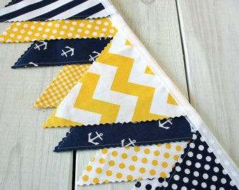 Nautical Bunting Banner Garland Anchor Baby Boy Nursery Decor Baby Shower Fabric Bunting Party Decorations Yellow Navy Blue