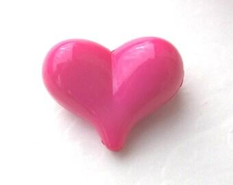 22mm, 10 CT, Pink Heart Chunky Beads, Valentine's Day, Acrylic, Bubblegum Beads, C36