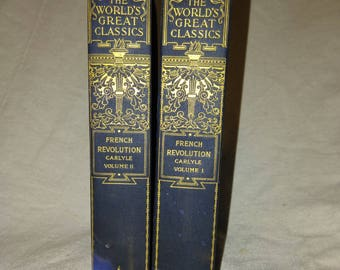1900 French Revolution A History by Thomas Carlyle in 2 volumes