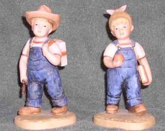 Denim Days - School Days - 2 Figurines - HOMCO Home Interiors - #1513 1985