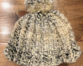 Hand Knit White, Gray and Black  Striped Beanie
