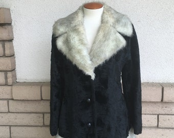 Vintage Faux Fur Coat, Black and Gray Faux Fur Princess Coat by Betty Rose Size M-L