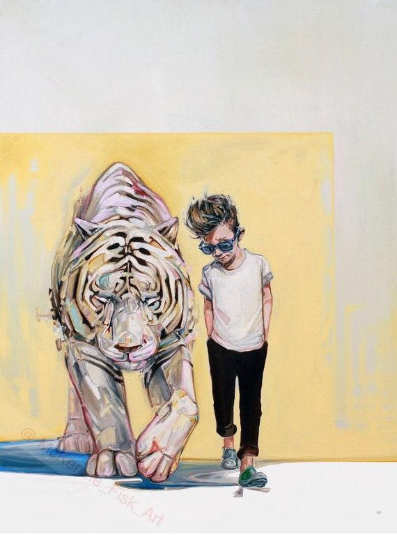 Tiger illustration Modern wall art surrealism print fine